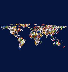 world map pills vector image