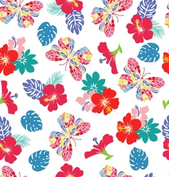 background with flower hibiscus and flying butterf vector image vector image