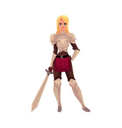 beautiful blond woman dressed as medieval knight vector image