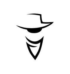 cowboy head logo on white vector image