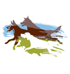 running dogs on the meadow vector image