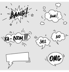 Set of hand drawn comic speech bubbles elements vector image vector image