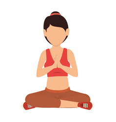 woman practicing yoga icon vector image