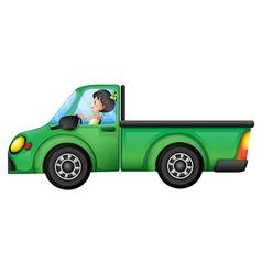 A green car driven by a girl vector image vector image