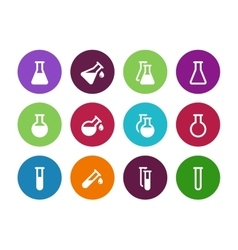 Chemistry flask circle icons on white background vector image vector image