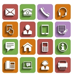 Contact Us Icons Set With Shadow vector image