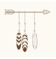free spirit arrow feathers tribal vector image