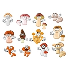 Funny cartoon forest edible mushrooms vector image vector image