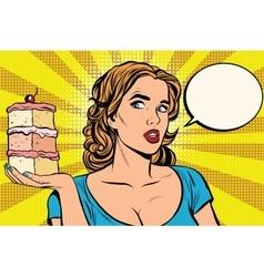 Pop art girl diet cake vector image vector image