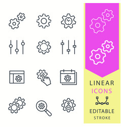 settings - line icon set editable stroke vector image