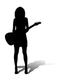 Sexy woman with an electric guitar vector image