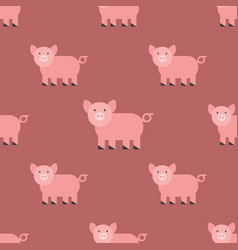 cute pig cartoon animal seamless pattern farm vector image