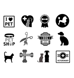 Set of veterinary concept icons vector