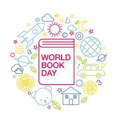 world book and copyright day logo icon line vector image vector image