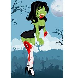 Cartoon zombie girl vector image vector image
