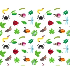 Funny cartoon insects and leaves background vector image