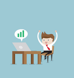 happy businessman working with green up graph vector image vector image