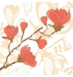 Magnolia flower card vector image vector image