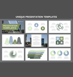 set of green and blue elements for multipurpose vector image