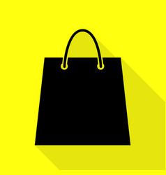 shopping bag black icon with flat vector image vector image