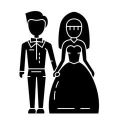 wedding couple - bride and groom icon vector image