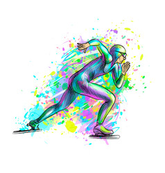 abstract speed skaters from splash of watercolors vector image