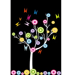 Abstract white tree with stylized fruits and vector image