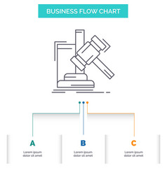 Auction gavel hammer judgement law business flow vector