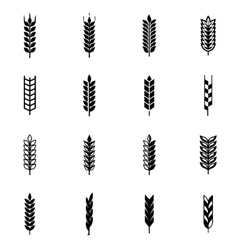 Black wheat ear icon set vector
