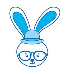 blue icon rabbit face vector image