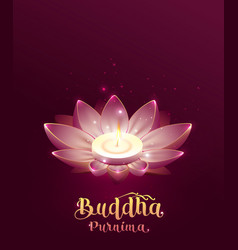 Buddha purnima vesak day lettring text greeting vector
