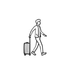 business traveler walking with suitcase hand drawn vector image