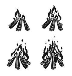 Campfire icons set simple style vector