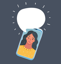 cartoon of phone conversation vector image