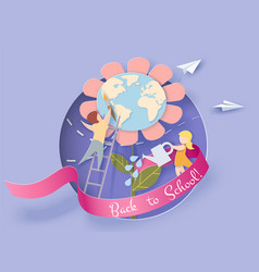 children caring for earth flower blue sky vector image