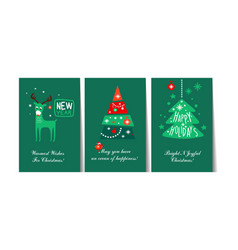 christmas and happy new year gift cards vector image