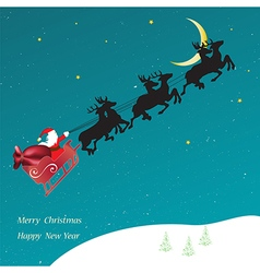 Christmas card with flying Sledge with Santa Claus vector