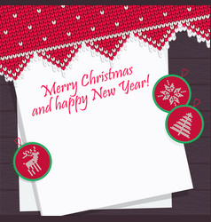 christmas pattern knit card template for new year vector image