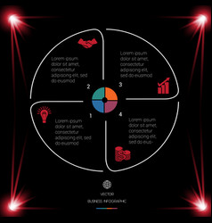circle lines infographic 4 positions dark vector image