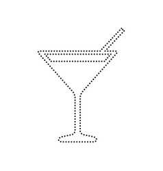 cocktail sign black dotted vector image