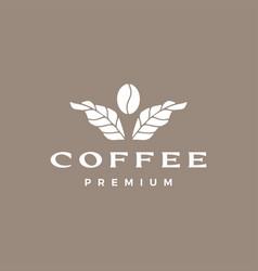 Coffee bean leaf plant logo icon vector