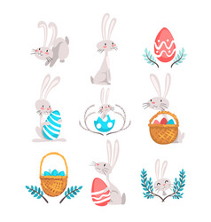 collection of cute bunnies and eggs happy easter vector image