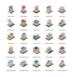 Commercial building isometric icons pack vector