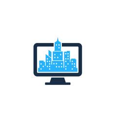 Computer town logo icon design vector