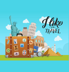 concept with worldwide sights vector image