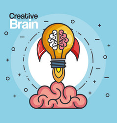 Creative brain rocket strategy idea innovation vector