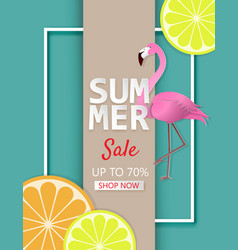 creative summer sale banner with lemon orange and vector image