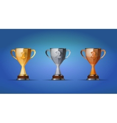Cup winners award for first second and third vector