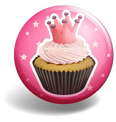 Cupcake on pink badge vector