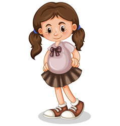 Cute girl smiling on white background vector